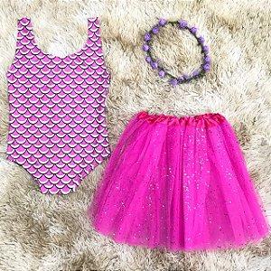 Body Sereia - Pink + saia de tule