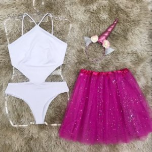 Body White + saia de tule