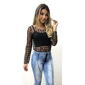 Conjunto blusa + cropped - Xadrez