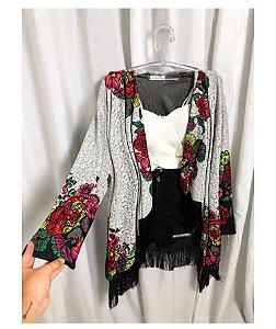 Kimono de lã estampado