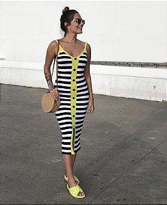 Vestido listrado- Tricô yellow