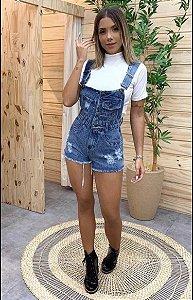 Jardineira Jeans curta - Botões