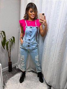 Jardineira Jeans botões - lavagem clara