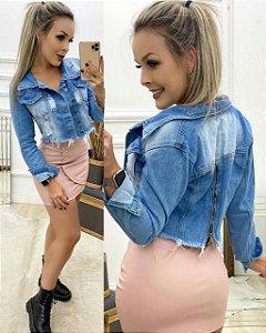 Jaqueta Jeans Curta - com zíper nas costas