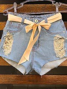 Short Jeans com cinto de cetim