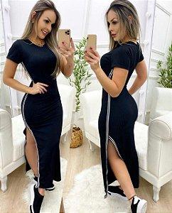 Vestido canelado - listras