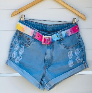 Short Jeans com cinto candy color