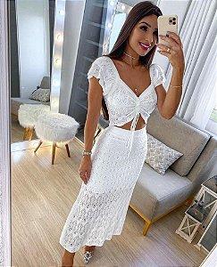 Conjunto de tricô Branco - Flávia