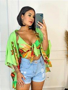 Conjunto kimono + cropped - Green Butterfly