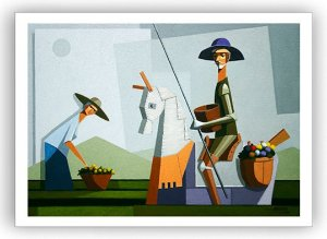 Quixote e Dulcineia na colheita / Tela - Manasses Andrade