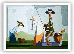 Quixote e Dulcineia na colheita / Fine Art em Tela sem moldura - Manasses Andrade
