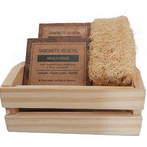 Kit 2 Sabonetes em Barra Argila 100g + Bucha Vegetal