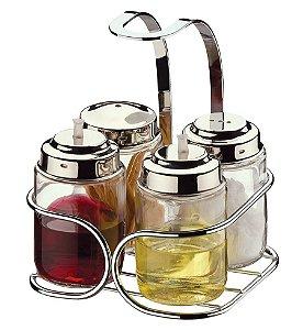 Galheteiro Para Sal, Palito, Vinagre E Azeite - Ref. 2240