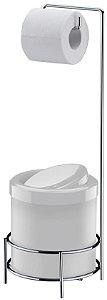 Suporte Porta Rolo Para Papel Higiênico Com Lixeira Branca 5 Litros - Ref. 1105