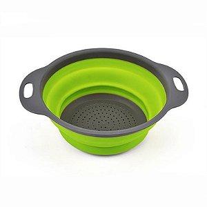 Coador De Silicone Dobrável Verde - Ref. Ch22