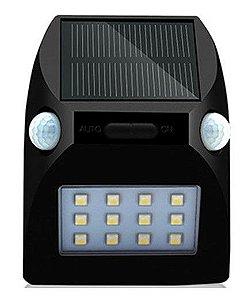 LÂMPADA SOLAR 12 LEDS COM SENSOR DE MOVIMENTO E LUZ COLORIDA RGB - Ref. CH16