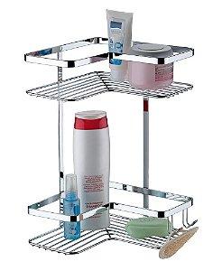 Porta Shampoo Sabonete Suporte Cantoneira 2 Posições Para Banheiro Luxo - Ref. 1103