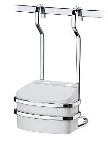 Saleiro Suporte Com Saleiro Branco 500gr Para Barra De Cozinha Luxo - Ref. 2810bc