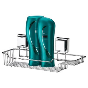 Porta Shampoo E Sabonete Com Ventosas Extrafortes Inox Luxo Banheiro - Ref. 7000