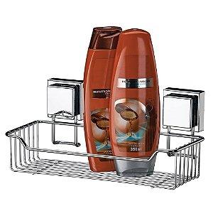 Porta Shampoo Com Ventosas Extrafortes Inox Luxo Banheiro - Ref. 7001