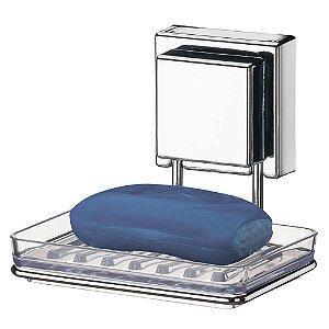 Saboneteira Inox Plástico Com Ventosa Extraforte Banheiro Cozinha Lavanderia - Ref. 7002