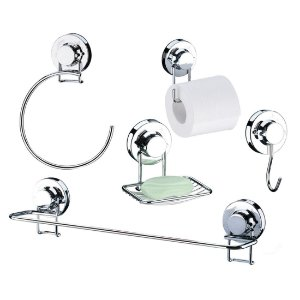 Conjunto Para Banheiro 5 Peças Com Ventosa Luxo - Ref. 4013