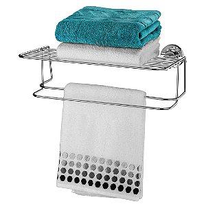 Toalheiro Com Prateleira 45cm Com Ventosas Extrafortes Luxo - Ref. 4023