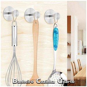 Gancho Inox Adesivo Cabide Multiúso Porta Utensílios Cozinha Banheiro - Ref. Ch37