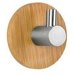 Gancho Adesivo Cabide Multiúso Adesivo Inox Bambu Luxo CH47 Porta Toalha Roupas Utensílios Cozinha Banheiro Quarto