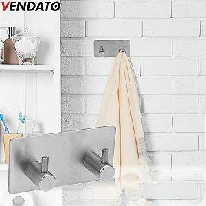 Gancho Adesivo Inox Duplo Cabide Adesivo Multiúso Porta Toalhas Utensílios Cozinha Banheiro Luxo - Ref. Ch69