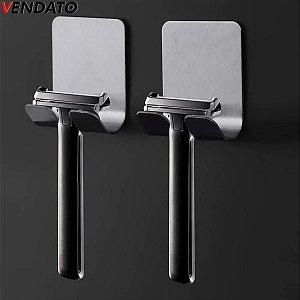 Suporte para Barbeador Lâmina de Barbear Inoxidável Gancho Adesivo Multiúso Banheiro Cozinha Quarto - CH79