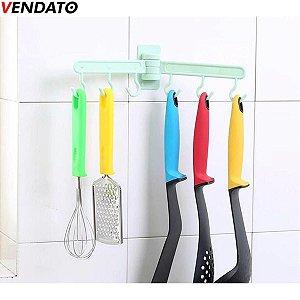 Gancho Adesivo Multiúso Ajustável Suporte 6 Ganchos Cozinha Banheiro Quarto Lavanderia - CH104, CH105, CH106, CH107