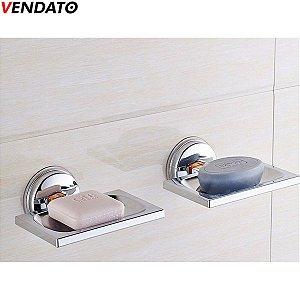 Saboneteira Inoxidável com Ventosa Suporte Para Sabonete Saboneteira Luxo Inox - CH131