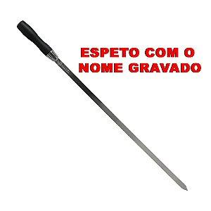ESPETO LISO EM AÇO INOX PARA CHURRASCO - COM O NOME GRAVADO