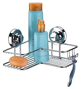 Porta Shampoo Sabonete Ventosas Extrafortes Luxo Suporte Cantoneira 1 Posição Banheiro - Ref. 4001