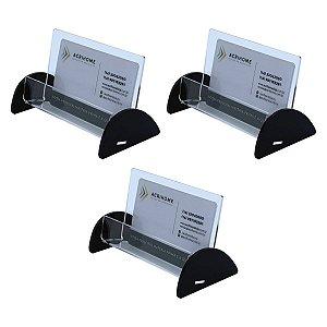 Porta cartão de visita preto - Kit com 3 peças