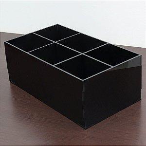 Porta pinceis 6 divisórias preto