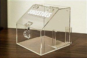 Mini caixa de sugestões transparente