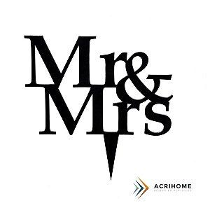 Topo de bolo de casamento Mr e Mrs preto