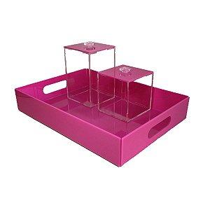 Kit higiene de acrílico rosa para bebê