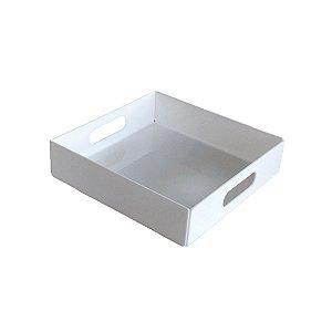 Bandeja de acrílico branco quadrada