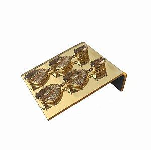 Expositor de brincos 2 furos deitado - Dourado - 3 peças