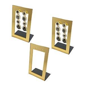 Expositor de brincos 2 furos vazado - Dourado - 3 peças
