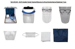 Ref. 953401 - Venda Kit para Proteção Facial Viseira Máscara Acrílica Odontológica Respingo 7 pçs
