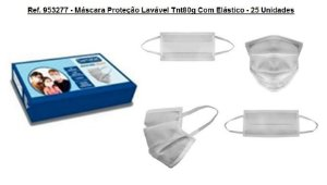 Ref. 953277 - Máscara Proteção Lavável Tnt80g Com Elástico - 25 Unidades