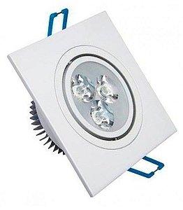 Lampada Spot Quadrada Branco 3w Led Para Teto Sanca Gesso