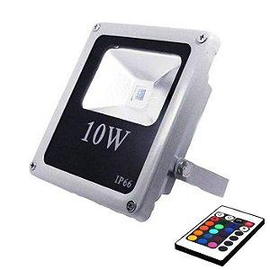 Refletor Holofote RGB 10w Led Bivolt 16 Cores Com Controle