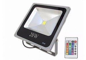 Refletor Holofote RGB 20w Led Bivolt 16 Cores Com Controle