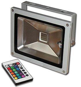 Refletor Holofote RGB 50w Led Bivolt 16 Cores Com Controle