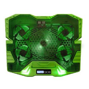 Base Gamer P/ Notebook Refrigerada 5 Coolers Verde com Led